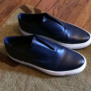 Navy leather Vince slip ons